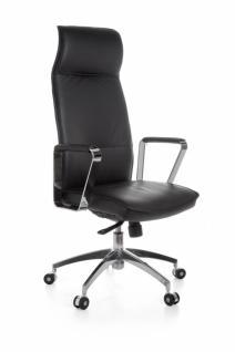 XXL Chefsessel Verona Echtleder Schwarz, Bürostuhl mit 5-Stufen Synchronmechanik (120kg)