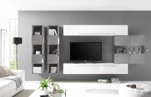 Wohnwand Set Veldig mit Vitrine in Weiß Beton Optik