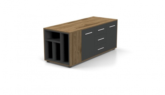 Design Büroschrank Ritim Holz Optik Grau