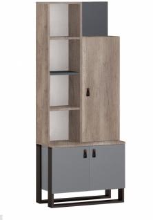 Design Bücherregal in Grau Holzoptik Corner 3-türig