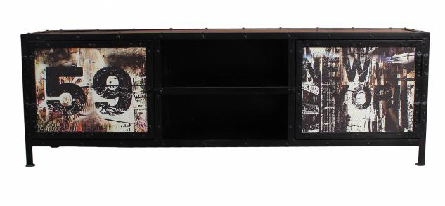 Lowboard Metall Ferra mit 2 Türen Handbemalt