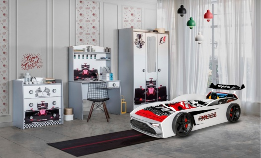 Autobett Kinderzimmer Formula in Weiß GT18 4-teilig