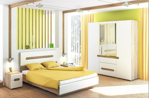 Schlafzimmer Eiche Weiß 160x200 Leonardo 4-teilig