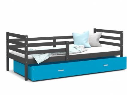 Kinderbett mit Bettkasten Grau Blau Rico 80x190