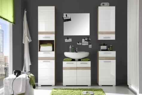 Badezimmer Set Alexia 5-teilig Weiß Eiche Optik