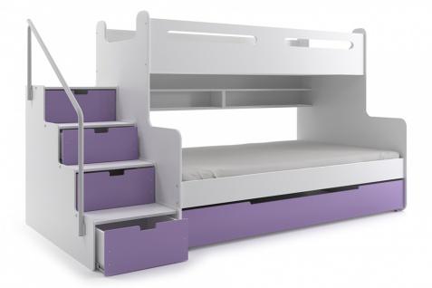 weißes etagenbett mit treppe hochglanz etagenbett tiko mit schubkastentreppe weißviolett kaufen bei