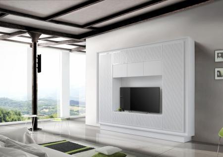Wohnwand in Weiß mit Lineardruck Heaven 1-teilig