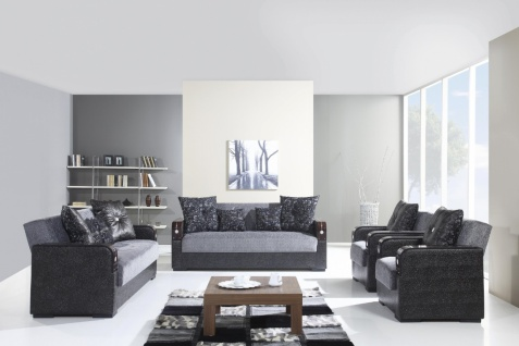 Couch Garnitur mit Schlaffunktion in Grau Misra 3+2+1