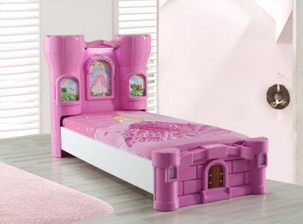 Burg Kinderbett Rozy in Pink mit LED Beleuchtung