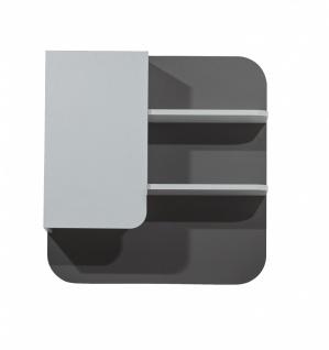 Baby Wandregal Birdy mit Tür in Weiß und Grau