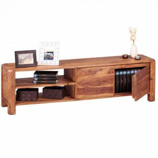 WOHNLING Lowboard Massivholz Sheesham Kommode 140 cm TV-Board Ablage-Fächer Landhaus-Stil Unterschrank 40 cm TV-Möbel