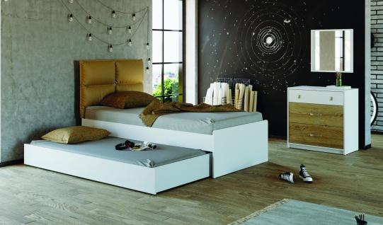 Jugendbett Novali mit Polsterkopfteil 120x200 Weiß