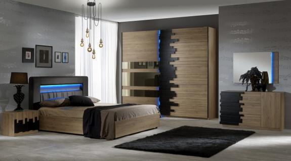 Schlafzimmer Set in Buche Mike 4-teilig mit LED - Vorschau 1