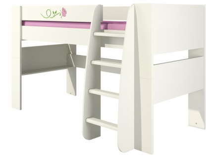 Hochbett für Kinder in Creme Rosalia mit Rosenmuster