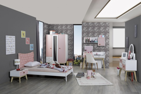 Mädchenzimmer Diane in Weiß und Pink