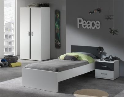 Jugendzimmer komplett Set Linde 3-teilig in Weiß-Anthrazit