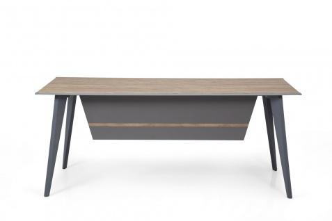 Ovali Schreibtisch 4-beinig Eco Holzoptik 180x80x75 cm