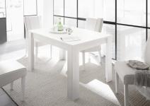 Esszimmertisch Weiß matt mit Ansteckplatte Fire 137x90
