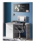 Schreibtisch in Beton Optik Weiß Jesper 1-türig