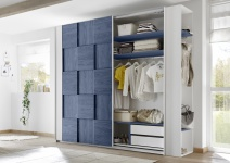 Design Garderobenregal Weiß Blau Space 230cm