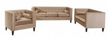 Sofa S-2 Jeronimo weicher Samtvelours, sand