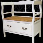 Sitzbank weiß/braun 83 x 85 x 42 cm