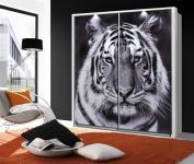 Schwebetürenschrank Weiß Yunis Motiv Tiger