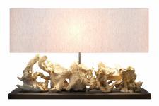 Tischlampe Lumina mit Leinen und Altholz