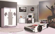 Kinderzimmer Autobett GT18 Turbo 4-teilig in Weiß
