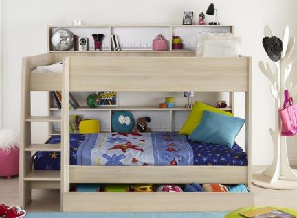 Etagenbett Für Zwei : Infantil infanskids etagenbett in kiefer massiv weiss mit leiter