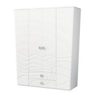 Milana Kleiderschrank mit 4 Türen Weiß Seidenmatt