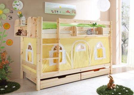 Kinder Etagenbett Kiefer massiv Timo inklusive Vorhang