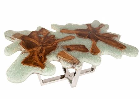 Couchtisch Romani mit Dekorplatte aus Teak und Harz