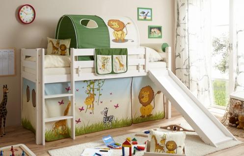Kinder Rutschbett mit Vorhang Mads Kiefer massiv