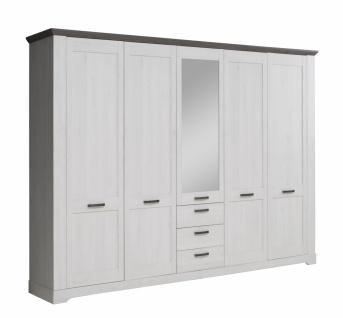Kleiderschrank in Eiche Weiß Landy mit Spiegeltüre