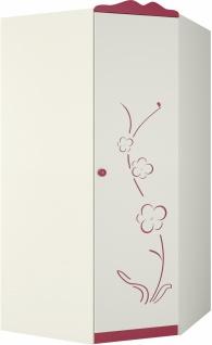 Sakura Eckkleiderschrank mit 1 Türe Creme mit Blüten - Vorschau 1