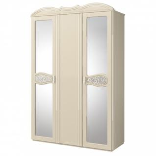 Kleiderschrank Sophia mit 3 oder 4 Türen Creme Glanz