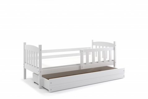 Kinderbett Shelly im Landhausstil in Weiß mit Bettkasten