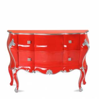 Kommode Exclusia mit 2 Schubladen in Rot und Silber