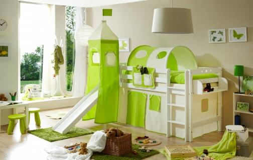 Spielbett mit Rutsche Violetta inkl. Vorhang und Turm