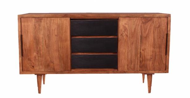 Sideboard Midsen aus Akazie Natur mit schwarzer Front