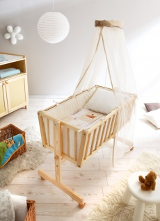 Babywiege auf Rollen Alisa mit Wippfunktion