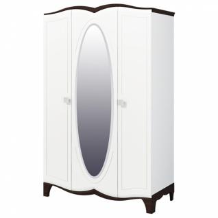 Kleiderschrank Tiffany mit 3 Türen Weiß und Wenge