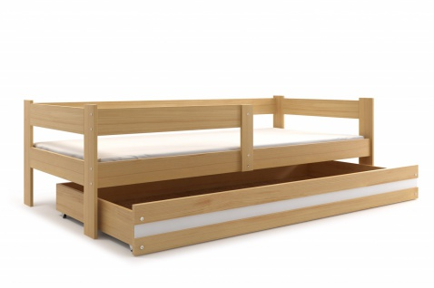 Kinderbett Jasper Kiefer mit Bettkasten inkl. Lattenrost und Matratze