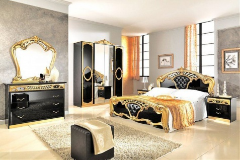 Barock Kunst Schlafzimmer Julianna 4-tlg. Schwarz-Gold