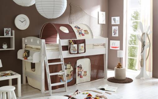 Kinder Hochbett massiv Renate inklusive Vorhang