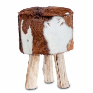Hocker Romani mit echtem Ziegenfellbezug