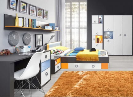 Jugendzimmer Set Cosi mit 4-türigem Schrank