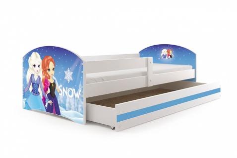 Kinderbett Funny in Weiß mit Bettkasten und Sticker