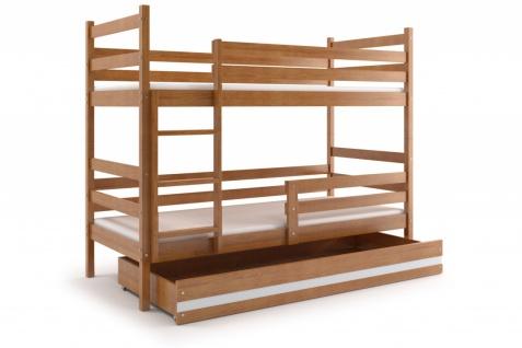 Etagenbett Dario in Erle mit Bettkasten inkl. Lattenrost und Matratze